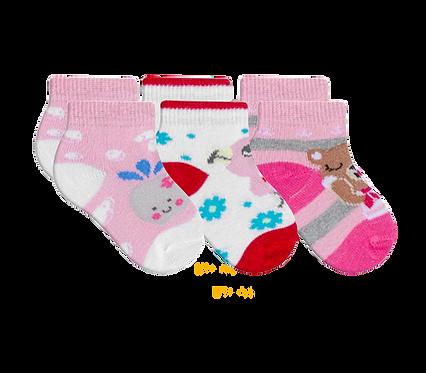 Kit 3 Pares de Meias Bebê Recém Nascido (14-15) Feminino Branca e Rosa