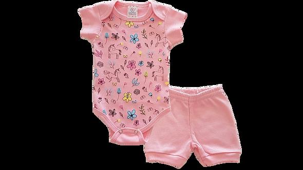 Conjunto Bebê 2 peças Body e Shorts Rosa Unicórnios - Kappes