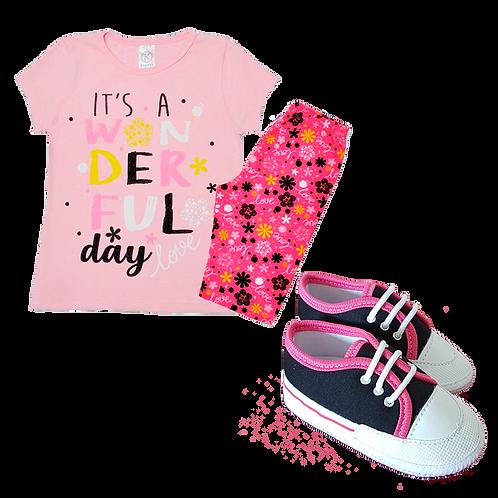 Conj Camiseta Manga Curta e Short Ciclista Rosa Love + Tênis Bebê Rosa e Preto
