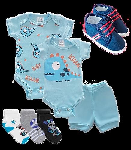kit 3 Peças Body e Shorts Azul Dinossauro Baby +Tênis Masc.+ 3 pares de meia