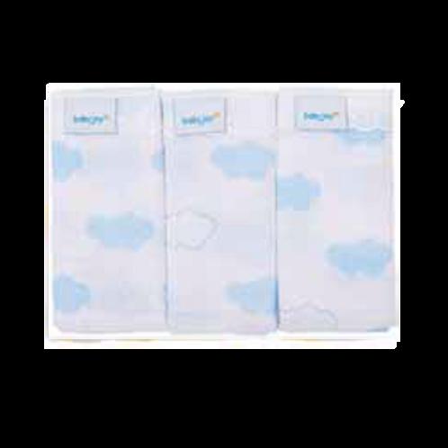 Pano de Boca Masculino Algodão Azul Nuvem Borda Rendada (3 Un) - Baby Joy