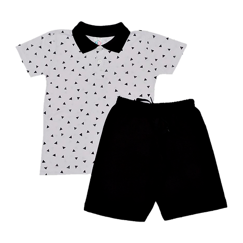 Conjunto bebê camisa Polo e bermuda Triângulo Preto