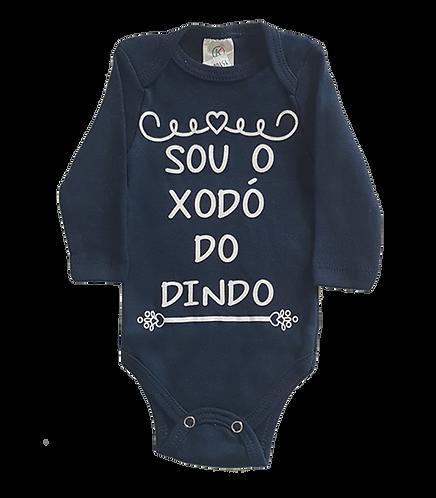 Body bebê Manga Longa Azul Marinho - Frase Sou o Xodó do Dindo - kappes