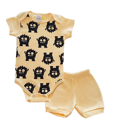 Conjunto Bebê 2 peças Body e Shorts Amarelo Monstrinhos