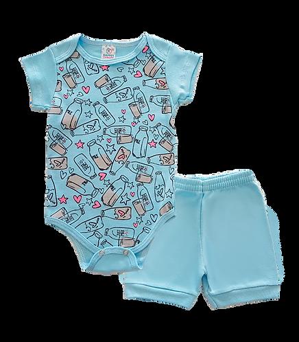 Conjunto Bebê 2 peças Body e Shorts Azul Claro Milk -Kappes