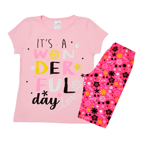Conjunto Bebê Camiseta Manga Curta e Short Ciclista Rosa Love