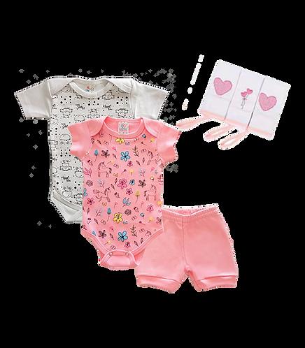 Conj. Body e Shorts Rosa Unicórnios+ Body Manga Curta Estampado + Toalha de Boca