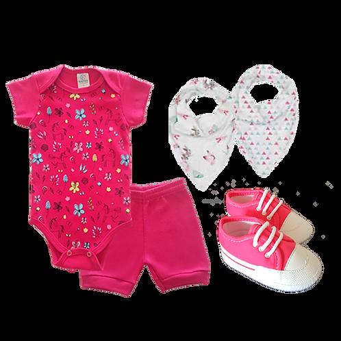 Conj. Body e Shorts Pink Unicórnios + Babador Bandana e Tênis Branco e Rosa