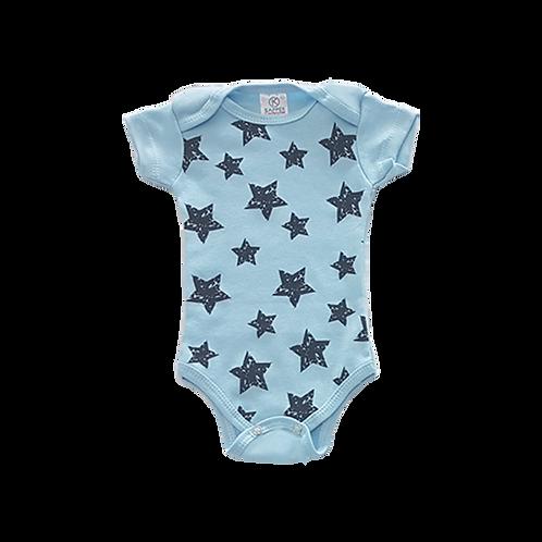 Body bebê Manga Curta Azul Estampado Estrelas - Kappes