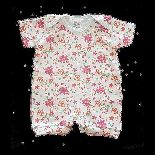 Banho de Sol Bebê Manga Curta Meia-Malha Branco Pássaros e Flores - Flaphy