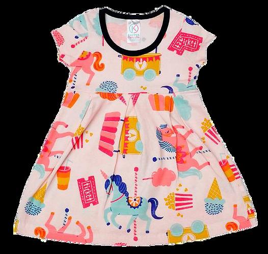 Vestido Bebê Manga Curta Cotton Pêssego Carrossel