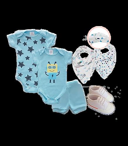 Kit Bebê 2 Body e Shorts Azul Robô + Tênis Bebê Branco + Babador Bandana