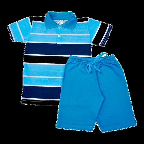 Conjunto bebê camisa Polo e bermuda listras Turquesa