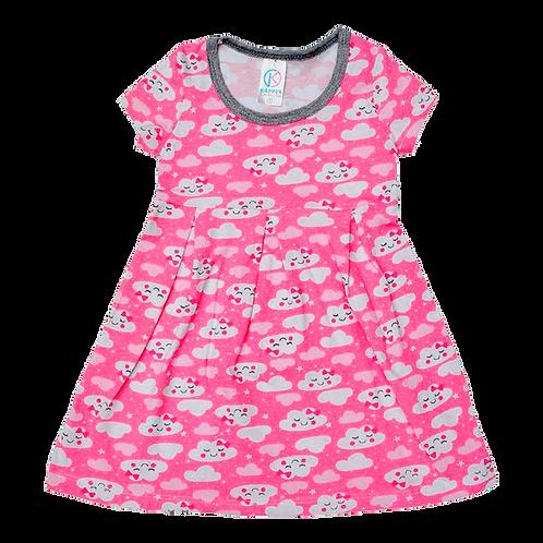 Vestido Bebê Manga Curta Cotton Rosa Nuvens