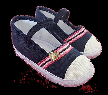 Sapatilha Bebê Feminina Azul com Velcro Coração