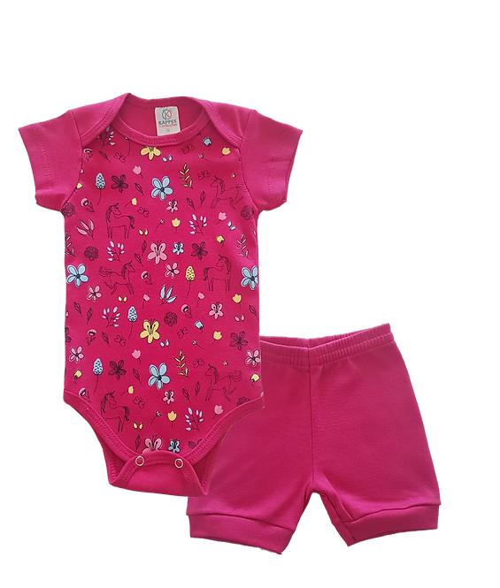 Conjunto Bebê 2 peças Body e Shorts Pink Unicórnios