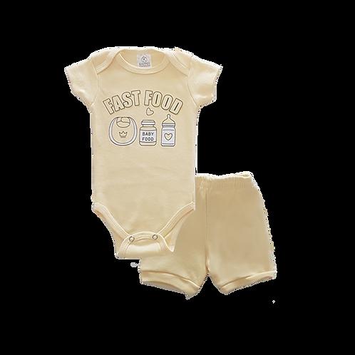 Conjunto Bebê 2 peças Body e Shorts Amarelo Baby Food - Kappes