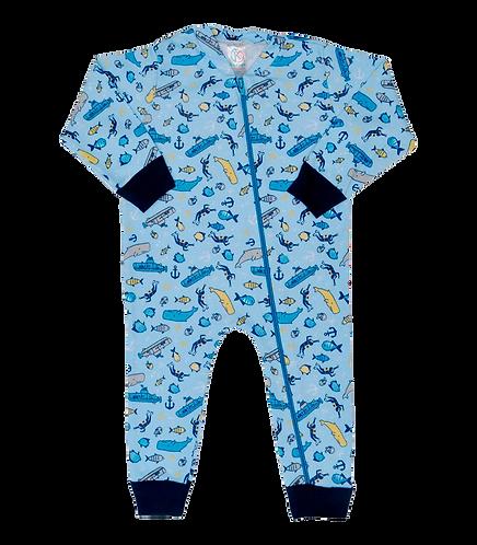 Macacão Bebê Manga Longo com Zíper Azul Fundo do Mar