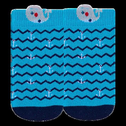 Meia Bebê Masculino Azul Ancora e Baleia (16-19)