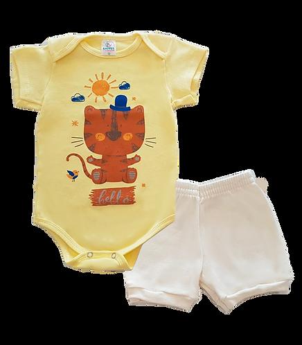 Conjunto Bebê 2 peças Body e Shorts Amarelo e Branco Gatinho - Kappes