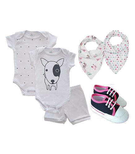 Kit Bebê 2 Body e Shorts Branco Dog + Tênis Bebê Preto e Rosa + Babador Bandana