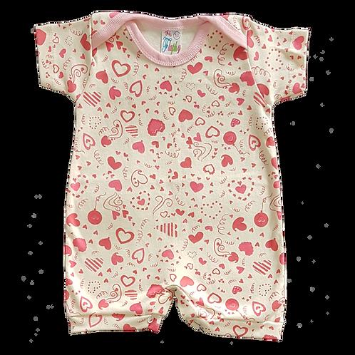Banho de Sol Bebê Manga Curta Meia-Malha Creme Coração - Flaphy