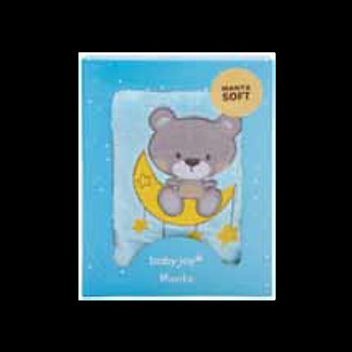 Manta Bebê Azul Bordada Urso Soneca - Baby Joy