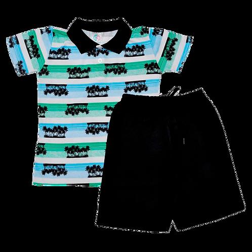 Conjunto bebê camisa Polo e bermuda Preto Coqueiros