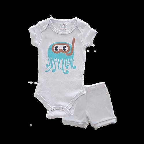 Conjunto Bebê 2 peças Body e Shorts Branco Polvo - Kappes