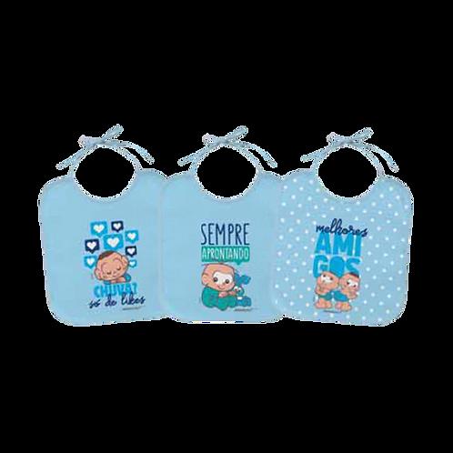 Kit Babador Bebê Masculino Azul Cebolinha e Cascão Baby (3 Un) - Turma da Mônica