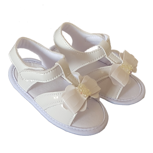 Sandália Bebê Feminina Branca Verniz Laço e Strass Velcro