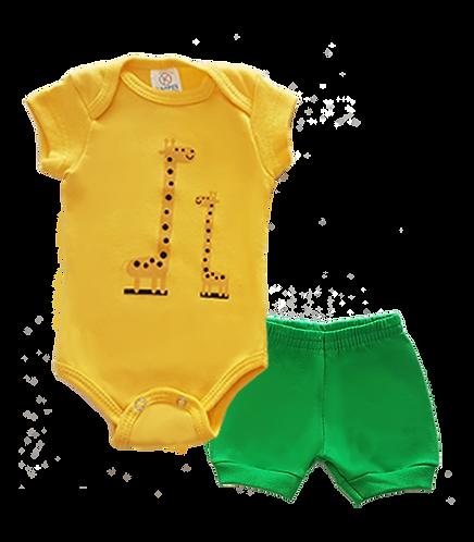Conjunto Bebê 2 peças Body e Shorts Amarelo e Verde Girafa - Kappes