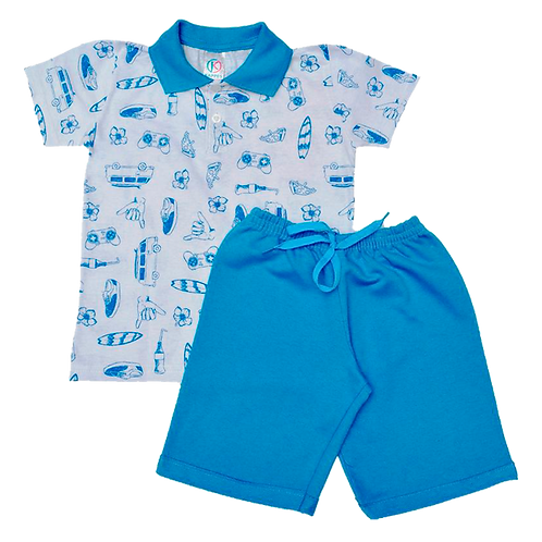 Conjunto bebê camisa Polo e bermuda Turquesa Kombi