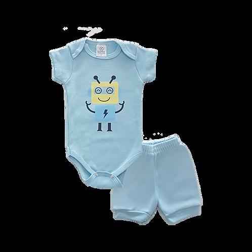 Conjunto Bebê 2 peças Body e Shorts Azul Robô - Kappes