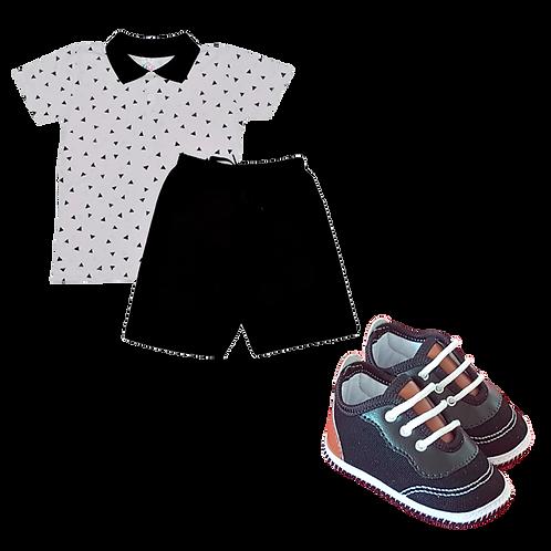 Conj bebê camisa Polo e bermuda Triângulo Preto + Tênis Bebê Masculino Marrom