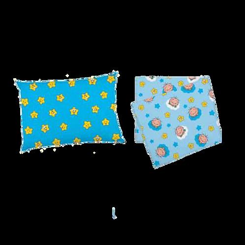 Jogo de Lençol Para Carrinho Azul Cebolinha (2 Peças) - Turma da Mônica