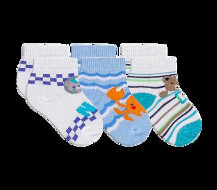 Kit 3 Pares de Meias Bebê Recém Nascido (14-15) Masculino Branca e Azul