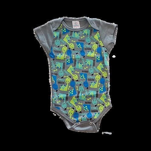 Body bebê Manga Curta Cinza Estampado Dinossauros - Kappes