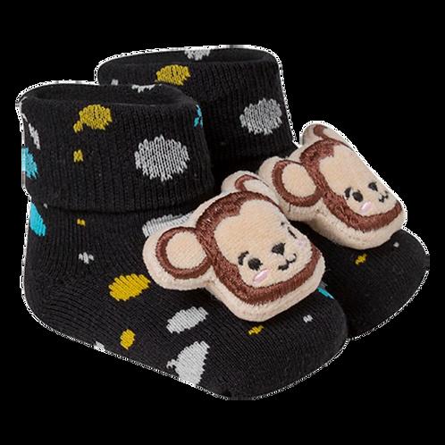 Meia Botinha Bebê Masculino Preta Macaco (16-19)