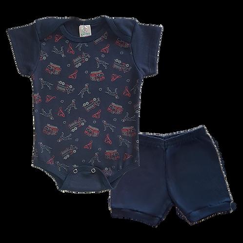 Conjunto Bebê 2 peças Body e Shorts Azul Marinho Bombeiro - Kappes