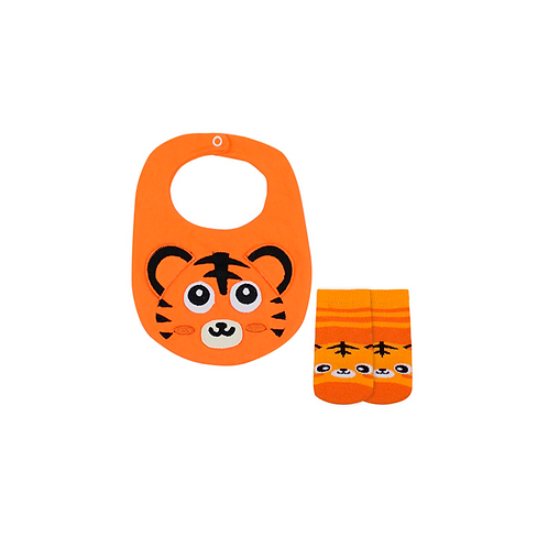 Kit Babador e Meia Bebê Masculino Laranja Tigre