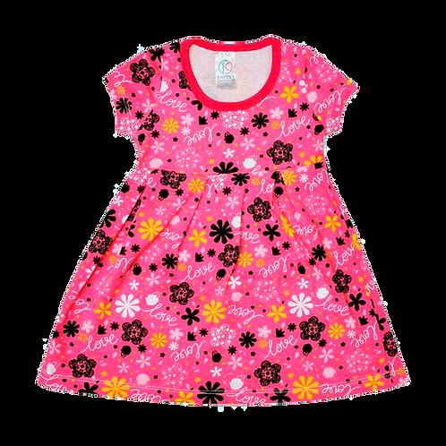 Vestido Bebê Manga Curta Cotton Rosa Love