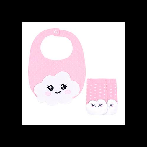 Kit Babador e Meia Bebê Feminino Rosa Nuvem