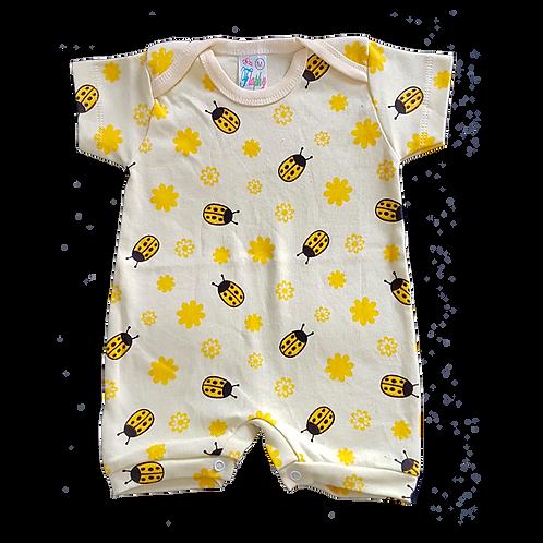 Banho de Sol Bebê Manga Curta Meia-Malha Amarelo Joaninhas - Flaphy