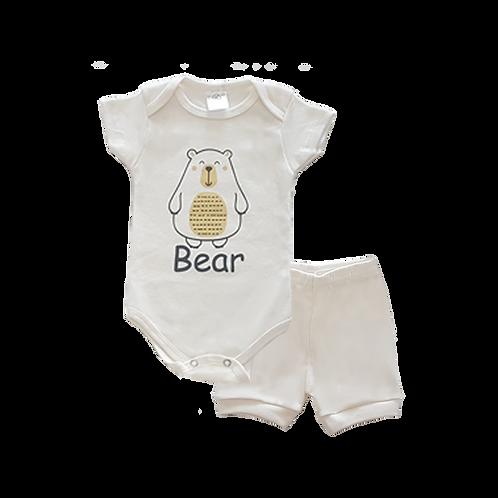 Conjunto Bebê 2 peças Body e Shorts Amarelo Urso - Kappes