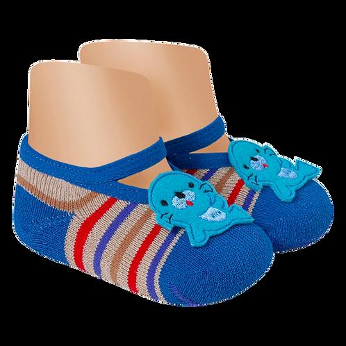 Meia Bebê Sapatilha Azul Antiderrapante (15 a 17) Foca