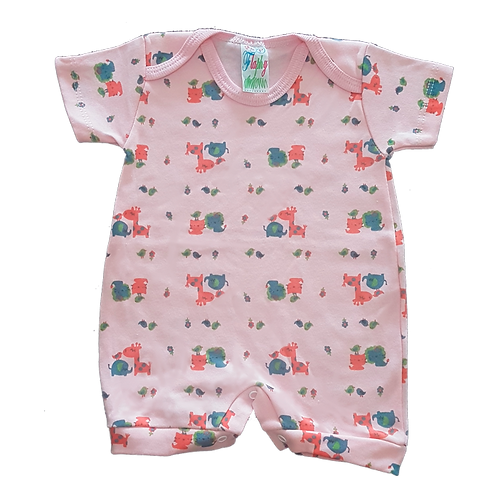 Banho de Sol Bebê Manga Curta Meia-Malha Rosa Elefantes e Girafas - Flaphy
