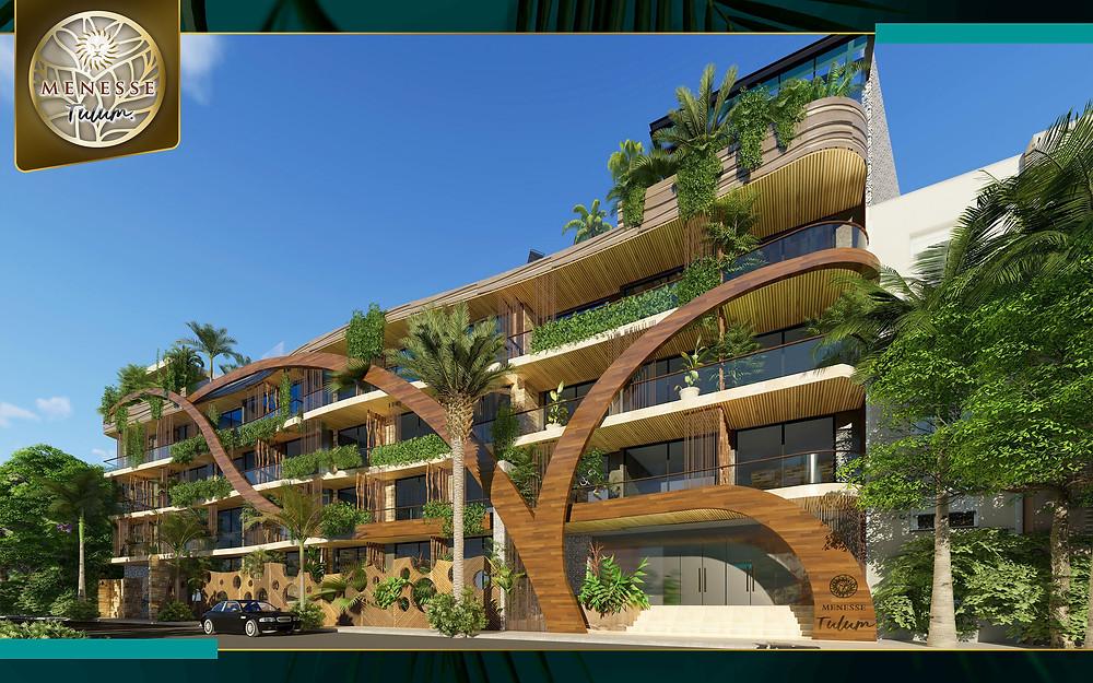 Menesse Tulum es la mezcla perfecta entre naturaleza y arquitectura moderna, construido en 2,500 m2 con materiales que se integran completamente con el entorno y a solo unos pasos de la Avenida Cobá, el principal acceso a la zona de playas de Tulum.