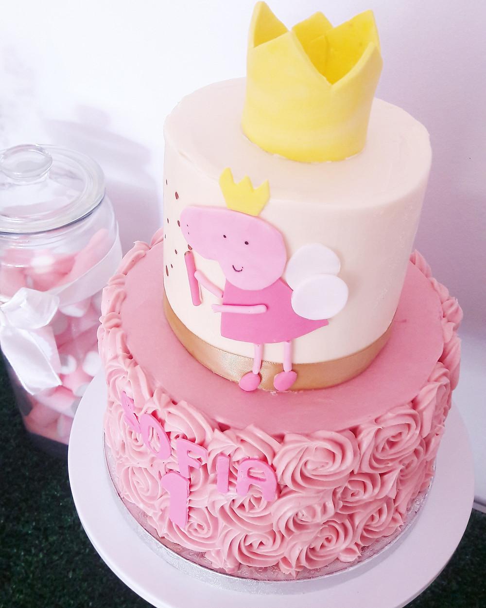 Tarta de cumpleaños, pastel de cumpleaños, peppa pig
