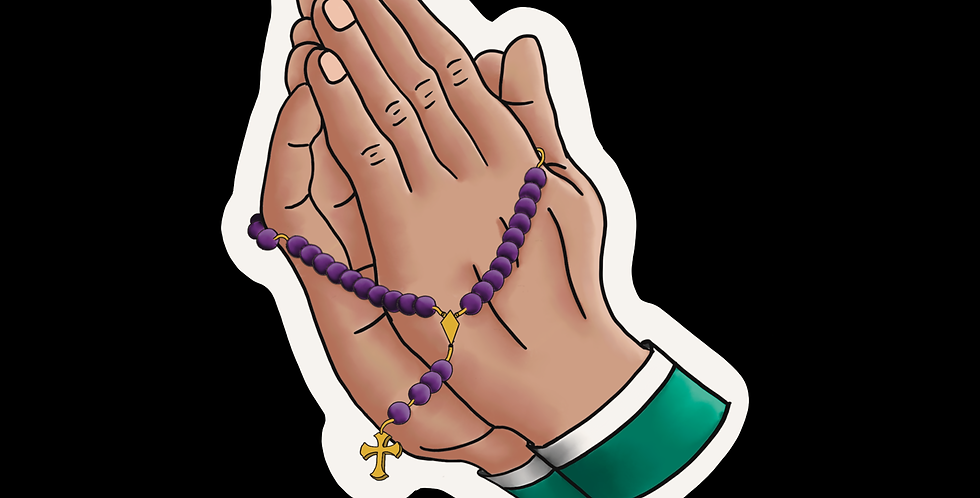 Prayer hands with rosary